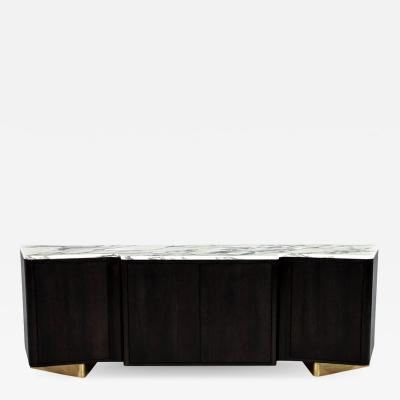 Carrocel Interiors Custom Serpentine Modern Styled Marble Top Sideboard Buffet by Carrocel