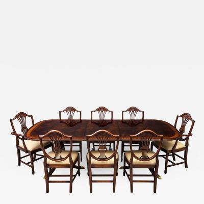 Carrocel Interiors New Flamed Mahogany Duncan Phyfe High Gloss Dining Table and Chairs Set