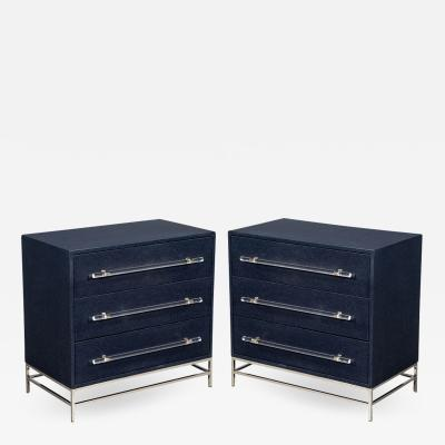 Carrocel Interiors Pair of Modern Indigo Chests of Drawers