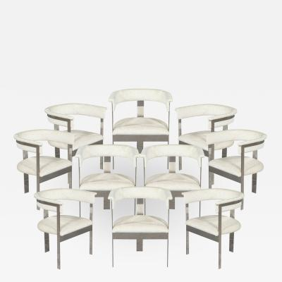 Carrocel Interiors Set of 10 Custom Modern Curved Back Metal Dining Chairs by Carrocel