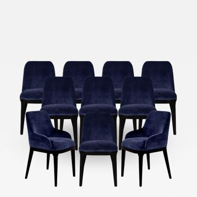 Carrocel Interiors Set of 10 Custom Navy Velvet Modern Dining Chairs