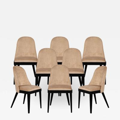 Carrocel Interiors Set of 8 Custom Modern Dining Chairs in Tan Velvet by Carrocel