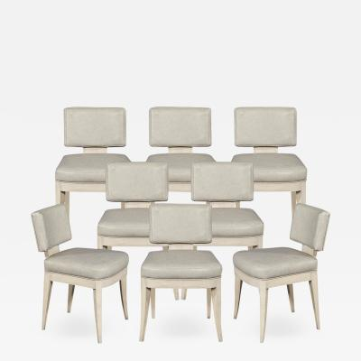 Carrocel Interiors Set of 8 Custom Modern Leather Dining Chairs with Washed Finish