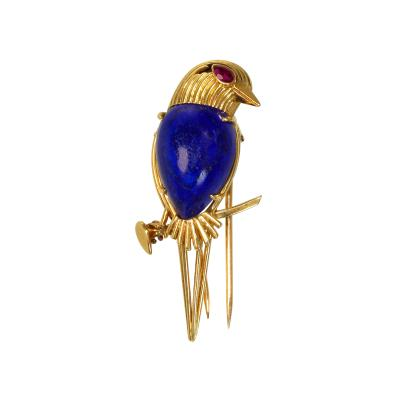 Cartier 18 Karat Gold Lapis Lazuli and Ruby Brooch by Cartier Paris circa 1970