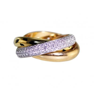 Cartier 18 Karat Tri Tone Gold Diamond and Enamel Trinity Ring by Cartier France