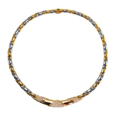 Cartier 18 Karat Two Tone Gold and Diamond Necklace by Cartier France