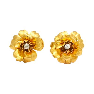 Cartier 18K Gold Diamond Flower Earrings by Cartier Paris