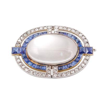 Cartier 1915 Cartier Art Deco Moonstone Diamond Sapphire Brooch Necklace