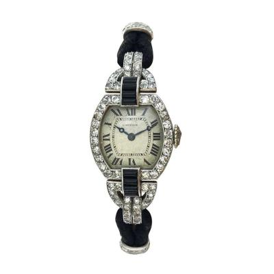 Cartier 1920s Cartier Paris Art Deco Diamond Onyx Wristwatch