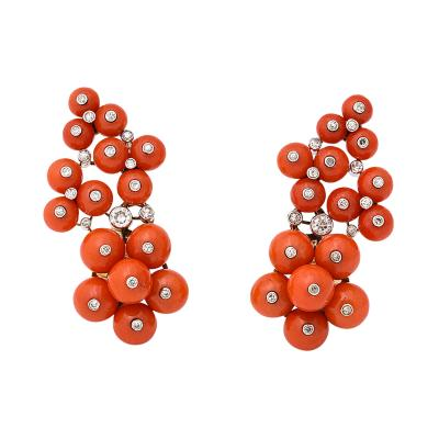 Cartier 1930s Coral and Diamond Earrings by Cartier Paris