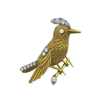 Cartier 1950s Cartier Paris Diamond Gold Platinum Bird Brooch