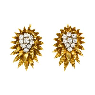 Cartier 1950s Gold and Diamond Clip Earrings Cartier
