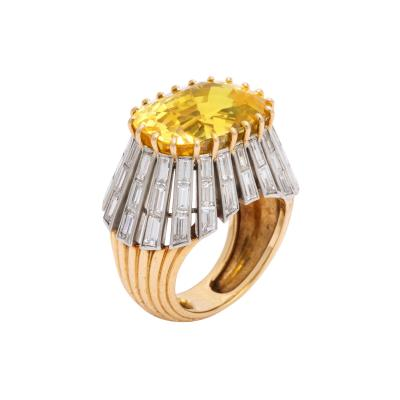 Cartier 1950s Yellow Sapphire and Diamond Ring by Cartier Paris
