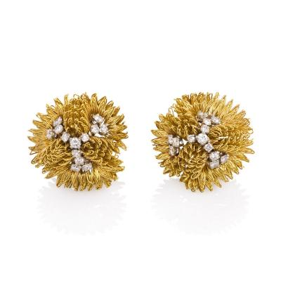 Cartier 1960s Cartier Gold Wirework Earrings with Diamond Trefoils