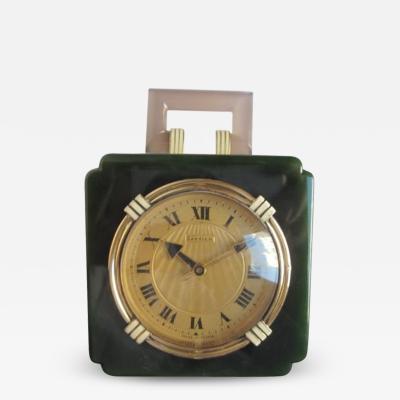 Cartier ART DECO NEPHRITE AGATE AND GOLD DESK CLOCK CARTIER CIRCA 1925