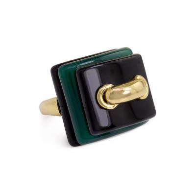 Cartier Aldo Cipullo for Cartier 1970s Gold Onyx and Chrysoprase Ring