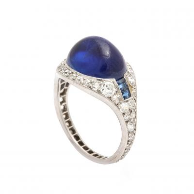 Cartier Antique Sapphire and Diamond Ring by Cartier Paris