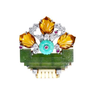 Cartier Art Deco Diamond Ruby Colored Stone and Enamel Brooch by Cartier