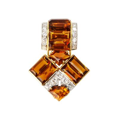 Cartier Art Deco Platinum 18 Karat Gold Citrine and Diamond Clip Brooch by Cartier