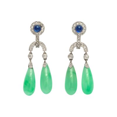 Cartier Art Deco Sapphire Diamond Jade Earrings by Cartier Paris