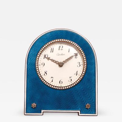 Cartier Belle Epoque guilloch enamel desk clock Cartier 1913