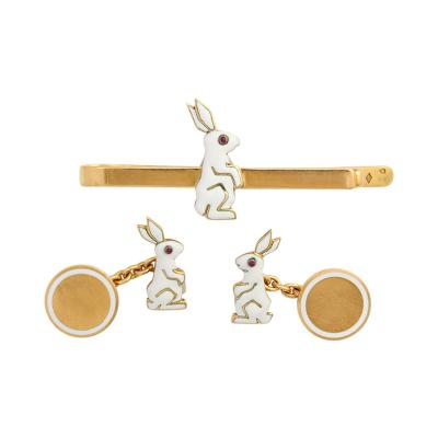 Cartier Bunny Cufflink Tie Pin Set by Cartier Paris