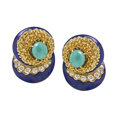 Cartier CARTIER 14K YELLOW GOLD ENAMEL TURQUOISE DIAMOND EARRINGS