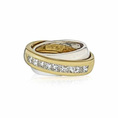 Cartier CARTIER 18K TWO TONE PRINCESS CUT DIAMOND CROSS OVER WEDDING BAND