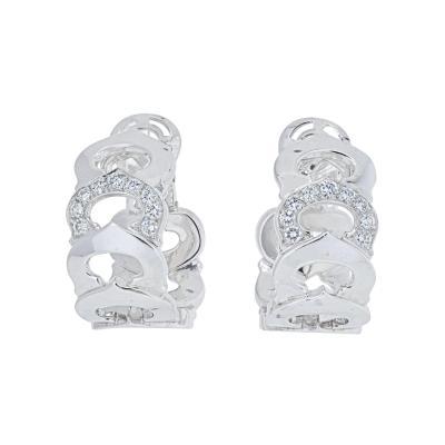 Cartier CARTIER 18K WHITE GOLD DOUBLE C DIAMOND HOOP EARRINGS