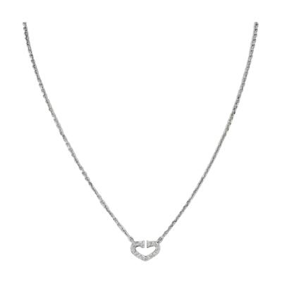 Cartier CARTIER 18K WHITE GOLD DOUBLE C DIAMOND PETITE HEART PENDANT