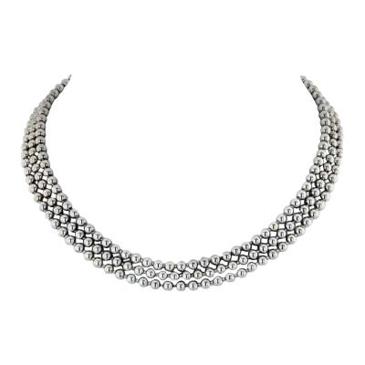 Cartier CARTIER 18K WHITE GOLD PERLES DE DIAMANTS THREE STRAND DIAMOND NECKLACE