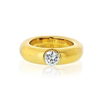 Cartier CARTIER 18K YELLOW GOLD 0 77CT ROUND CUT DIAMOND ENGAGEMENT RING