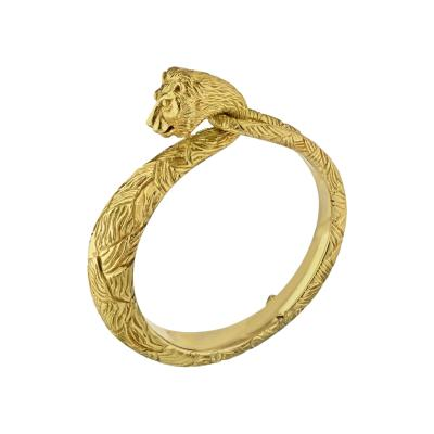 Cartier CARTIER 18K YELLOW GOLD CARVED LION BANGLE BRACELET