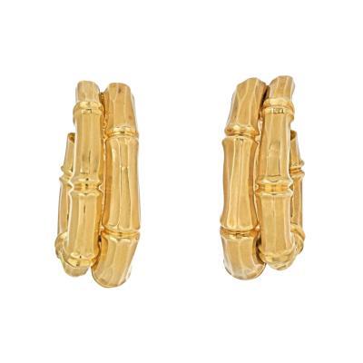 Cartier CARTIER 18K YELLOW GOLD DOUBLE BAMBOO EARRINGS