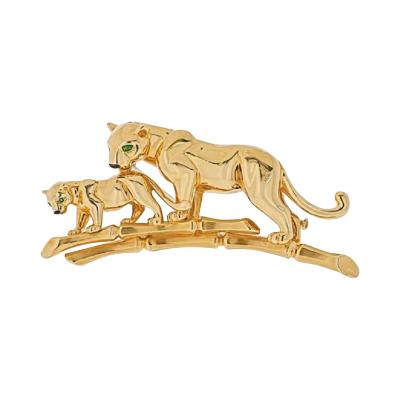 Cartier CARTIER 18K YELLOW GOLD PANTHERE MOTHER AND HER CUB BROOCH