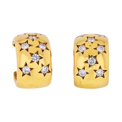 Cartier CARTIER 18K YELLOW GOLD STAR DIAMOND EARRINGS