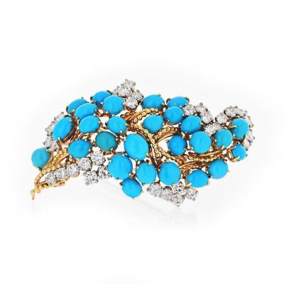 Cartier CARTIER 1960S 18K YELLOW GOLD TURQUOISE DIAMOND VINTAGE BROOCH