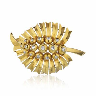 Cartier CARTIER ART DECO 18K YELLOW GOLD LEAF FOLIAGE DIAMOND BROOCH