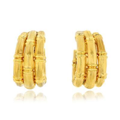 Cartier CARTIER BAMBOO 18K YELLOW GOLD LARGE EARRINGS