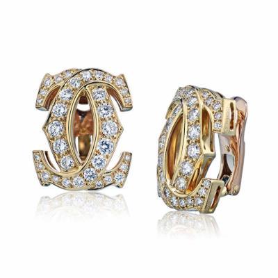 Cartier CARTIER DOUBLE C 18K YELLOW GOLD DIAMOND CLIP ON EARRINGS