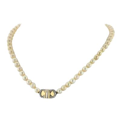 Cartier CARTIER DOUBLE C 18K YELLOW GOLD SINGLE STRAND VINTAGE PEARL NECKLACE