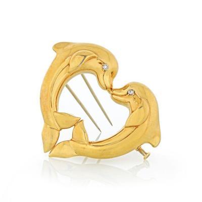Cartier CARTIER DOUBLE DOLPHIN 18K YELLOW GOLD HEART SHAPED BROOCH