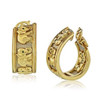 Cartier CARTIER ELEPHANT 18K YELLOW GOLD HOOP VINTAGE EARRINGS
