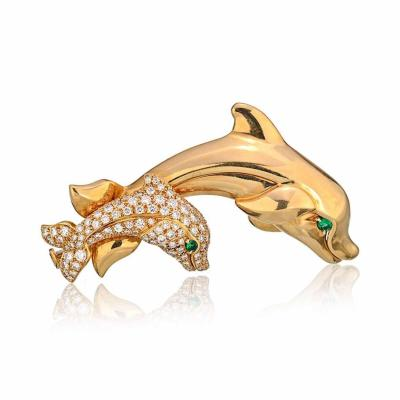 Cartier CARTIER FRENCH 18K YELLOW GOLD DIAMOND DOLPHINS WITH EMERALD EYES BROOCH