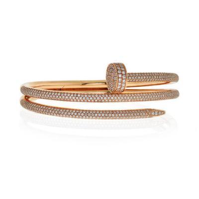 Cartier CARTIER JUSTE UN CLOU 18K ROSE GOLD DOUBLE DIAMOND PAVE N6708617 BRACELET