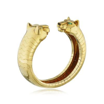 Cartier CARTIER LAKARDA PANTHERE 18K YELLOW GOLD EMERALD AND ONYX BANGLE BRACELET