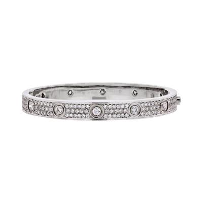 Cartier CARTIER LOVE 18K WHITE GOLD DIAMOND PAVE SIZE 16 BRACELET