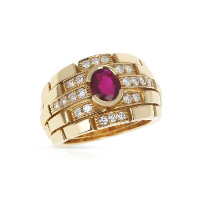 Cartier CARTIER MAILLON PANTHERE DESIGN OVAL RUBY AND DIAMONDS RING 18 KARAT YELLOW