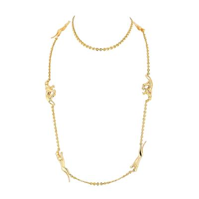 Cartier CARTIER PANTHERE 18K YELLOW GOLD 6 MOTIF CHAIN NECKLACE