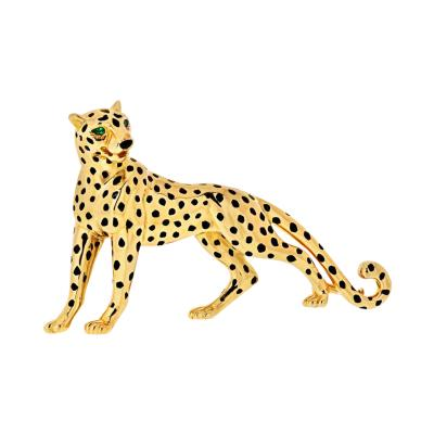 Cartier CARTIER PANTHERE 18K YELLOW GOLD BLACK LACQUER EMERALD EYES BROOCH